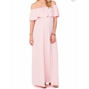 Off the Shoulder Maternity Maxi Dress in Blush